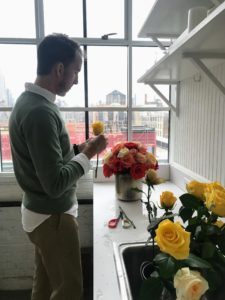 Kevin Sharkey and his entire team worked very hard on this program. Here is Kevin styling a bouquet of roses for a recent photo shoot at our New York City headquarters.