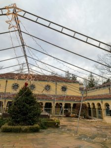 This is the decorated Spanish Courtyard. This area is used in the warmer months and holds about 500-visitors.