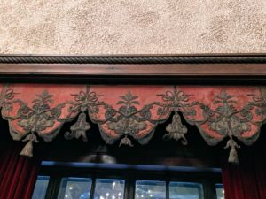 The Music Room also has seven Italian red velvet and metal thread embroidered and Damask valances with curtains on its windows.