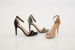 This is the Highclere Sandal. It comes in black suede, gilver and nude.