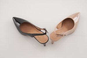 These are the Laurels Kitten Heel Sling Pumps with three-inch heels.