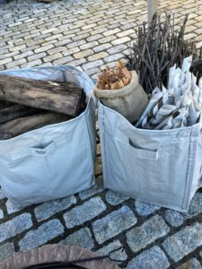 And, I love these 48-Gallon Multi-Purpose Reusable Heavy Duty Garden Totes. Here are two in our slate color. They can be used for so many things, such as holding firewood and kindling.