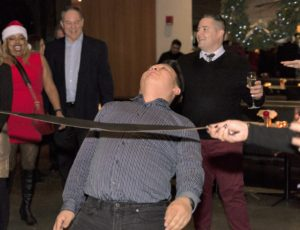 There was even a game of limbo - here's Levi Garcia taking his turn.