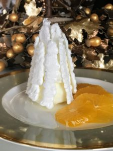 Pavlova is a meringue-based dessert named after the Russian ballerina, Anna Pavlova - ours was served with bright orange citrus slices.