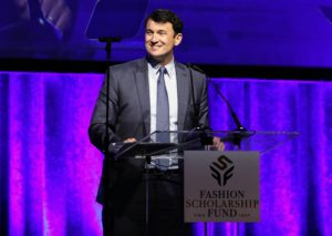 "Here is President of Macy's, Hal Lawton, as he accepts his award for ""Retailer of the Year"". (Photo by Cindy Ord/Getty Images for Fashion Scholarship Fund)"