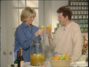 Sangria may be made in advance and guests can serve themselves - no bartender required! Chef Bobby Flay and I enjoy a toast.