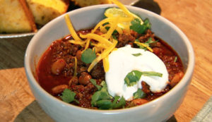 Chili is a great choice for winter entertaining. Set out a big-batch alongside bowls full of colorful toppings, such as grated cheese, sour cream, sliced avocados, tomatoes, onions and cilantro. And make sure to have plenty of tortilla chips on hand for dipping and snacking.