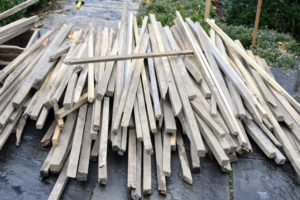 All the wooden stakes, strips and shims get reused from year to year whenever possible. These one-and-a-half by one-and-a-half inch pieces were milled right here at my farm and have been used for several projects.