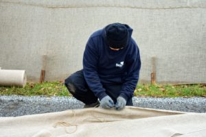 Our burlap covers last up to three seasons depending on the weather. This year, many of the covers had to be remade, which lengthens the process a little more.