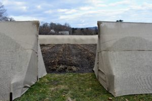 Here is the entrance to the peony bed after all the burlap is secured.