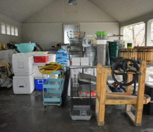 "Meanwhile, all the items moved to the carport were organized, and like things grouped together. Any items that did not belong were taken to their proper ""homes""."