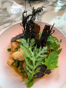 We enjoyed a lovely dinner at Faro and had more tempura bay bugs. This salad also has seaweed and other greens.