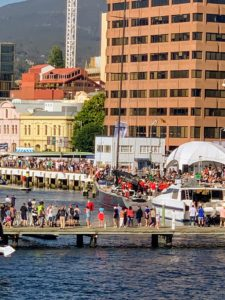 The docks were full - so many people turned out for the race. There was music playing and lots of fanfare.