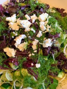 Rodney made a delicious salad including cucumber, fennel leaves, red shiso leaves, basil, and locally made feta cheese.