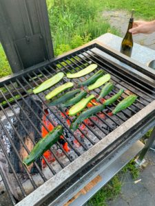 We also enjoyed grilled slices of small zucchini - picked fresh from the garden.