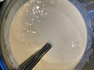 This is sourdough starter batter that Rodney made to coat the squash blossoms.