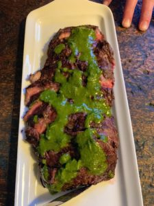 And for the meat eaters - grilled skirt steaks with pesto.