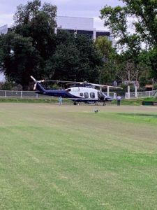 The next day, the Fox family sent us their helicopter for a bird's eye tour of Melbourne. The helicopter landed right on the Melbourne High School lawn, from which Mr. Fox had been expelled for lack of interest. He is now one of the leading business men of Australia and has since made amends with the school. In fact, he has visited on numerous formal occasions.
