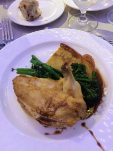 Our entree was a roasted chicken dish with roasted apple-sage pancake, sauteed broccollini and an aged balsamic vinaigrette.