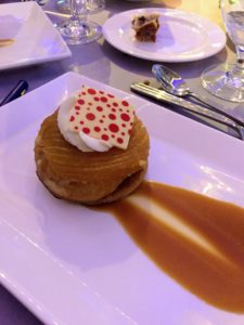 And dessert was an apple tartin with a caramelized apple on a puff ring with whipped cream and caramel sauce.