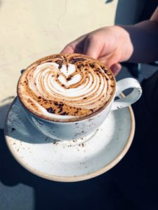 And here is a cappucino - they always add their designs with cocoa.