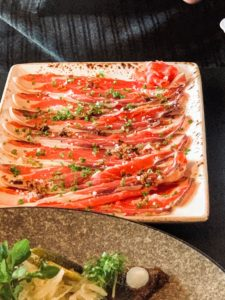 Look at this carpaccio of cured beef - so fresh.