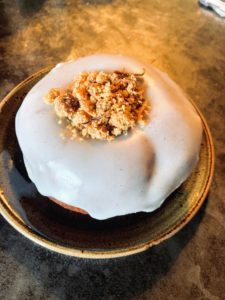The establishment is famous for its donuts. This is an apple crisp donut. All the fillings and toppings are handmade from scratch. Pastry chef, April Matusik, starts baking at about 1am and cooks through the early morning hours to deliver the delicacies fresh by 7:30am each day.