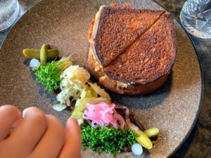 The children enjoyed these grilled cheese sandwiches made with four types of cheese and served on brioche.
