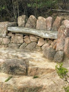 Here is a quaint little bench seat made out of rocks.