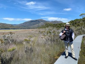 Here I am standing on the wooden boardwalk trail. We were always very careful to protect ourselves from the sun. Remember, the ozone layer over Australia is thinned, so there are a lot more UV rays reaching the earth.