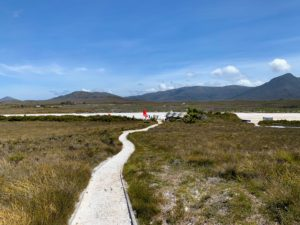 Here is the Melaleuca Airport landing strip. This stop is part of the Par Avion tour. This airport has direct access to the South Coast Track to Cockle Creek or the Port Davey Track to Scotts Peak.