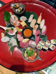 Look at this red plate filled with all the sushi. We ate every piece - everything was so fresh and delicious.