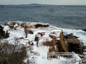Here is more ice on the rocks to the left of Thunder Hole - with a beautiful and powerful view of the Atlantic ocean beyond.