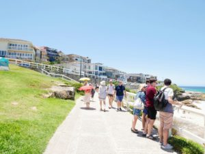 "After a quick dip at Bronte Beach, we did the ""Bondi to Bronte, or for us the ""Bronte to Bondi"", coastal walk through Tamarama Beach and Mackenzie's Bay."
