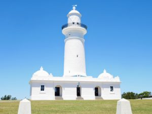This is the Macquairie Lighthouse, also known as South Head Upper Light - an Australian landmark. It is the first and the longest serving lighthouse site in Australia.