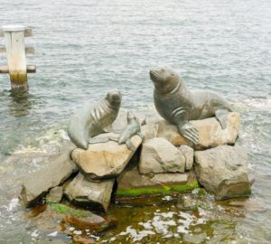 This is the other called Seals and Penguins (1998). Both art pieces are made of bronze and presented to the city to honor the brave explorers who passed through this Antarctic gateway.