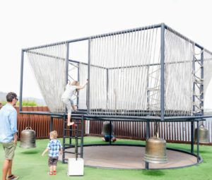Jude and Truman loved Chen Zhen's musical trampoline. Each child was allowed two minutes alone inside the trampoline. Smaller children were accompanied by an adult. Truman was not very happy about the time limit.