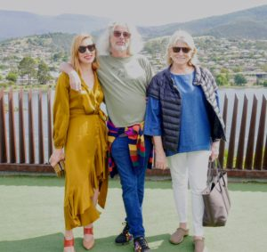 Once we arrived at MONA, we met its founder, David Walsh, and his wife, art curator, artist, and practitioner of sustainable architecture, Kirsha Kaechele. Here we are posing for a quick photo.
