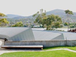 MONA has roof sections that are removable to lift bulky artworks into the building gallery.