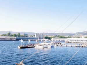 We went out to the dock in the early morning. We stayed at the luxurious MACq01 Hotel, which was right on the water.