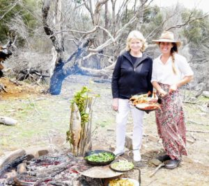 Once back at our campfire, Sarah and I posed for this nice photo near our cooking foods.