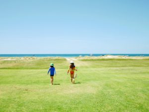 Portsea is a popular summer-home community. Visitors love boating and swimming in the area waters. Here are Jude and Truman running to the beach.