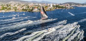 Here is a great shot taken from above. The race's line honor winners are just reaching the end. The first place line honors went to Wild Oats XI from New South Wales. (Photo provided by Cruising Yacht Club of Australia)