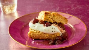 And then food writer and cookbook author, Melissa Clark, bakes these remarkable roasted grape shortcakes. (Photo by Mike Krautter) https://www.melissaclark.net/
