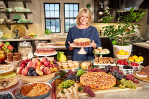 "Our 11th season of ""Martha Bakes"" was taped in one of our kitchen sets at our historic Starrett Lehigh headquarters. It's one of the many Martha Stewart Living kitchen designs you'll find exclusively at The Home Depot. Here I am with a sampling of all the scrumptious baked dishes we make during the season - there's something delicious for everyone. (Photo by Mike Krautter)"