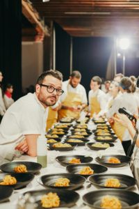 And here is well-known chef, Christian Puglisi. He was assigned to prepare a dish incorporating Badger Flame Beets, egg yolk, and elderflower. (Photo by Laura Murray for Row 7 Seeds)
