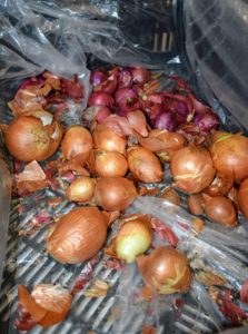 Here is a crate of organic onions - yellow and red. These onions go very quickly. Customers signed up for delivery shop Mike's online market, order and await delivery during the week - it's so easy.