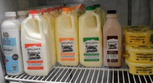 In the dairy fridge - organic milk from Kimball Brook Farm in North Ferrisburgh, Vermont. http://www.kimballbrookfarm.com/