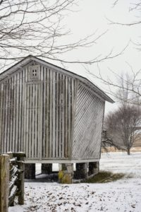 "Here's the old corn crib, which is original to the property. The unique ""keystone"" shape, flaring from bottom to top, was designed to shed water."