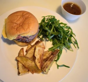 This burger and fries with green salad will become a favorite menu option for the entire family.